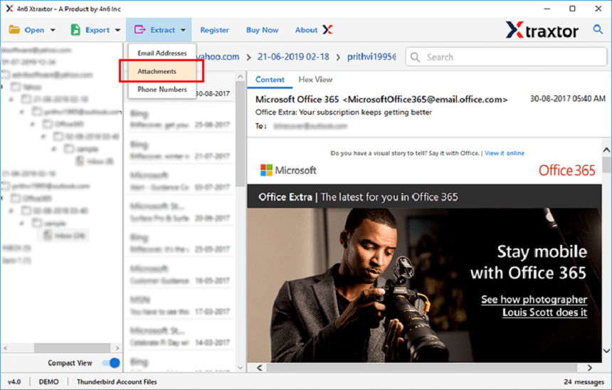 extract attachment from windows live mail